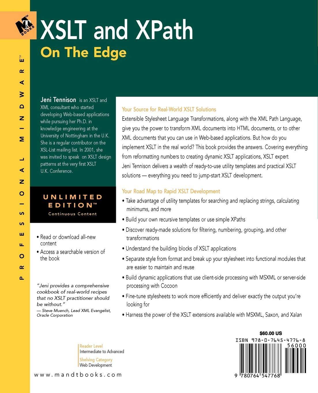 XSLT and XPath On The Edge (Professional Mindware): Amazon