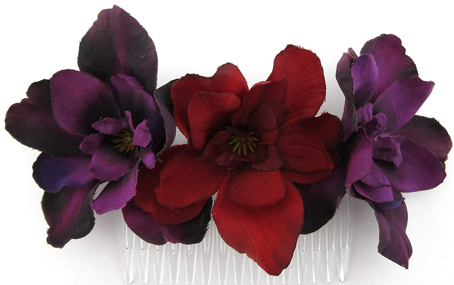 Triple Purple and Red Apple Blossom Silk Hair Comb