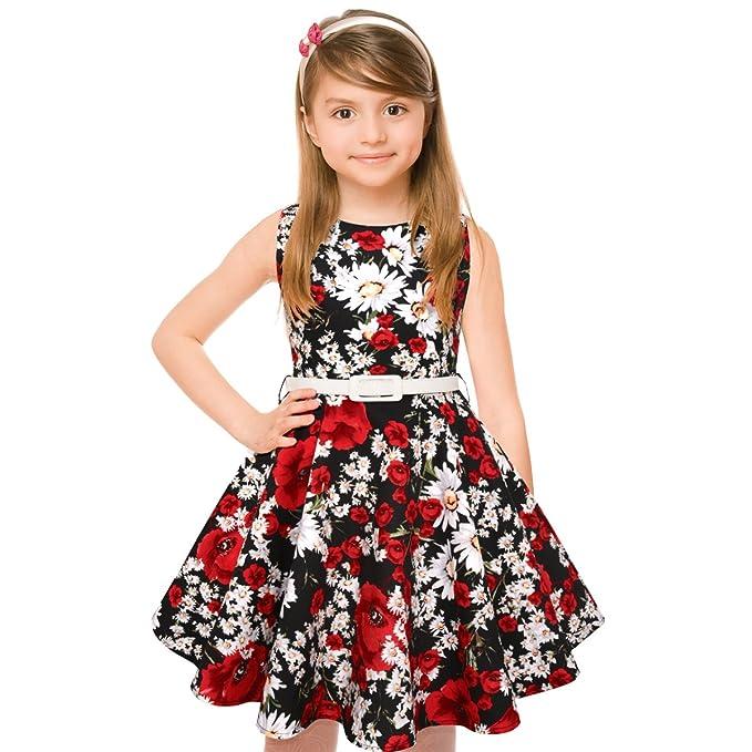 HBBMagic 1950 Vintage vestido de niña cuello redondo sin mangas de algodón Floral Vestidos con cinturón