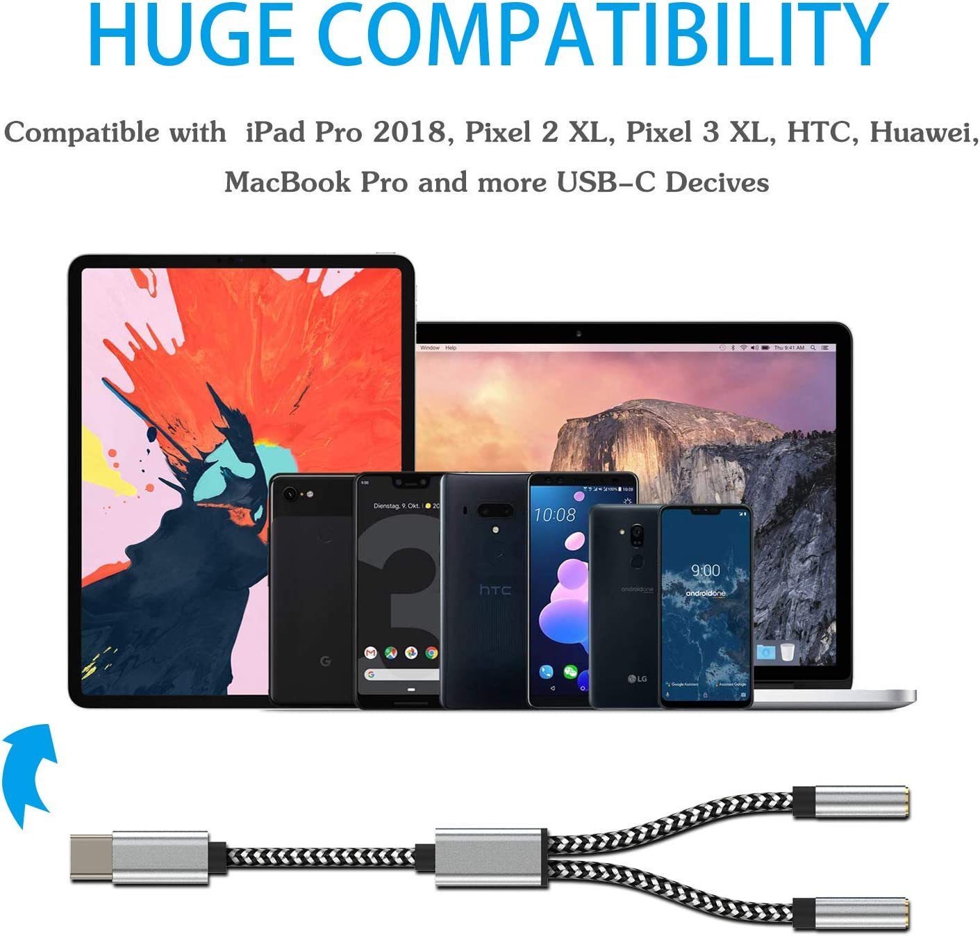 Type C to 3.5mm Audio Headphone Jack Adapter Compatible with Google Pixel 2//2XL//HTC//Essential Phone//LG-Support Phone Calling and Voice Control Hzmirzk Pixel 2 USB C to 3.5mm Audio Adapter