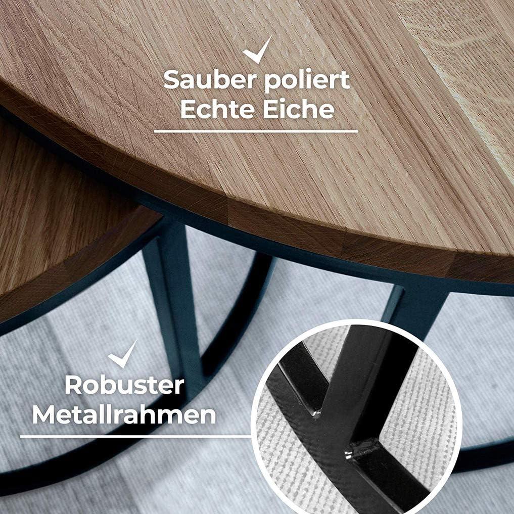 Y-CJ Couchtisch aus Eiche /& Metall rund /& kompakt Wohnzimmertisch aus Echtholz Massivholz Beistelltisch braun Grau Satztisch aus Massiv Holz im 2er Set 50 cm hoch