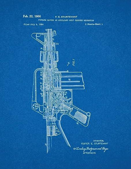 Amazon colt ar 15 semi automatic rifle patent print art poster colt ar 15 semi automatic rifle patent print art poster blueprint 11quot malvernweather Choice Image