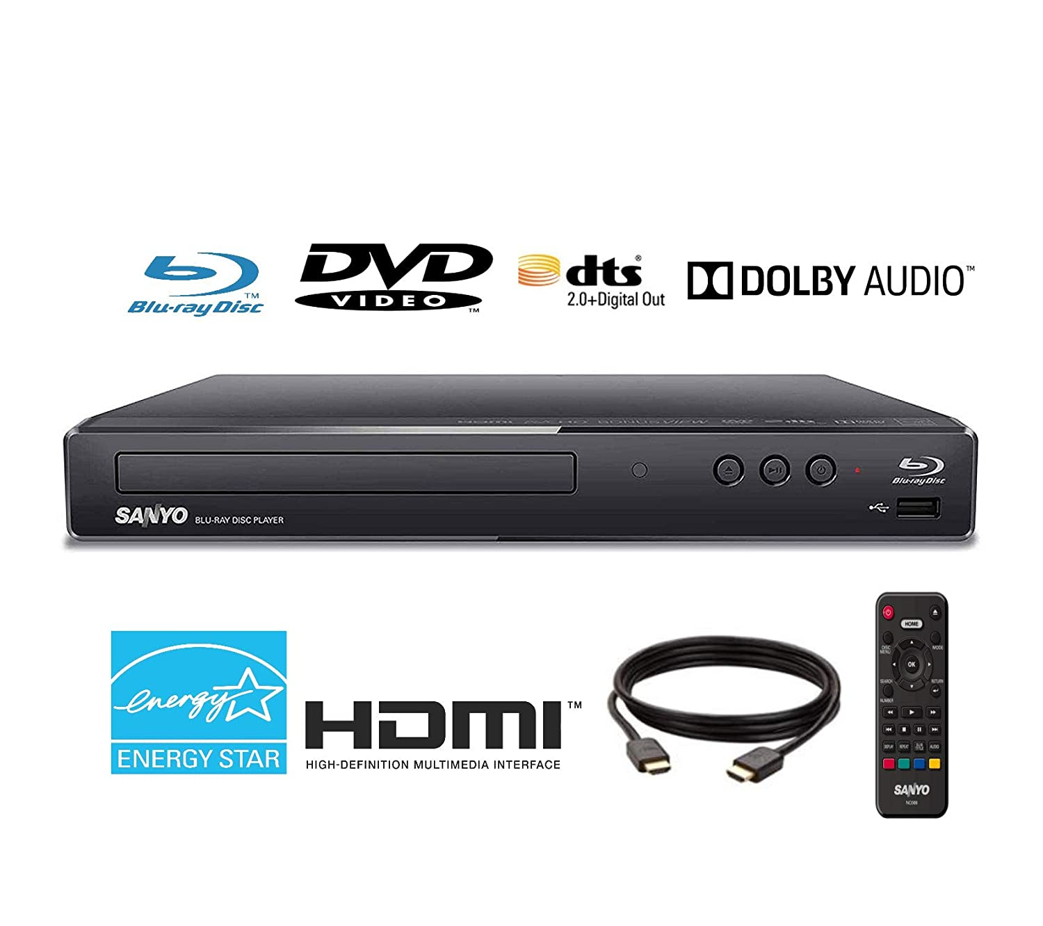 Renewed Sanyo FWBP505F Blu-ray Player 6FT HDMI Cable Included