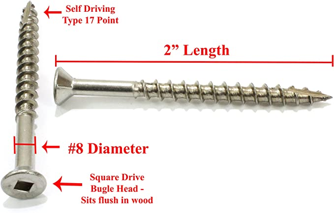 """#14 X 2/"""" Deck Screws Stainless Steel Square Drive Wood//Composite Qty 100"""