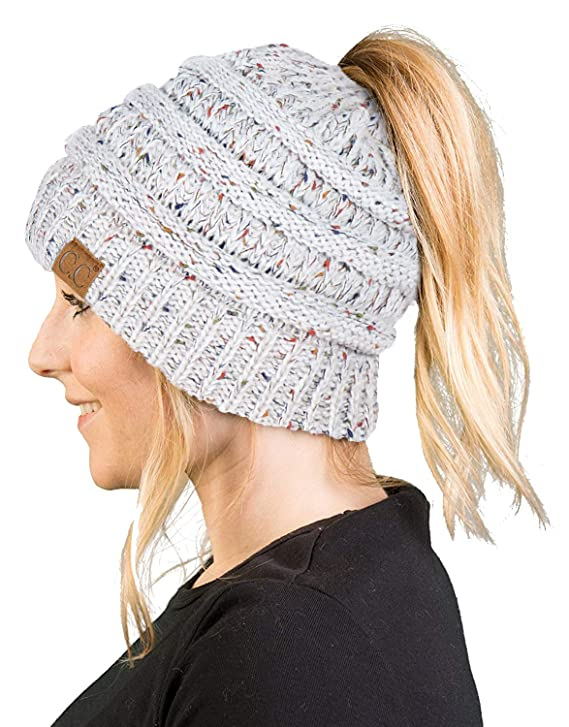 BT-6800-3325 Messy Bun Womens Winter Knit Hat Beanie Tail - Ivory (Confetti) best stocking stuffers for teenage girls