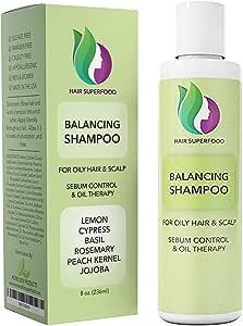 Vitamin Shampoo For Oily Hair & Scalp – Itchy Scalp & Greasy Hair Treatment For Oily & Thinning Hair – Volumizing Shampoo For Women + Men - Purifying Shampoo Sulfate Free with Lemon + Jojoba Oil