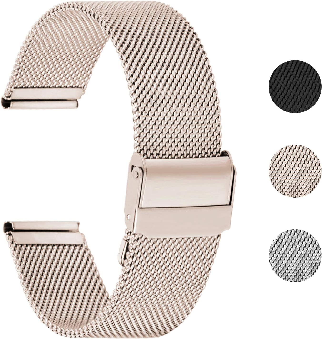 Fullmosa 【2020 Nuevo】 Correa de Reloj, Correa de Acero Inoxidable Repuesto Correas Reloj con Reemplazo de Reloj de 18/20/22 mm para Mujer y Hombres