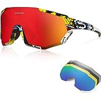 Queshark fietsbril TR90 onbreekbaar frame gepolariseerde sportzonnebril, fietsbril voor heren dames met 5 lenzen, anti…