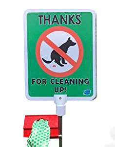 No Poop Dog Signs Poop Bag Dispenser | Stop Dogs from Pooping On Your Lawn | Sign Reads: Thanks For Cleaning Up | Protect Property | No Poo | No Pooper Scooper | (Thanks For Cleaning Up)