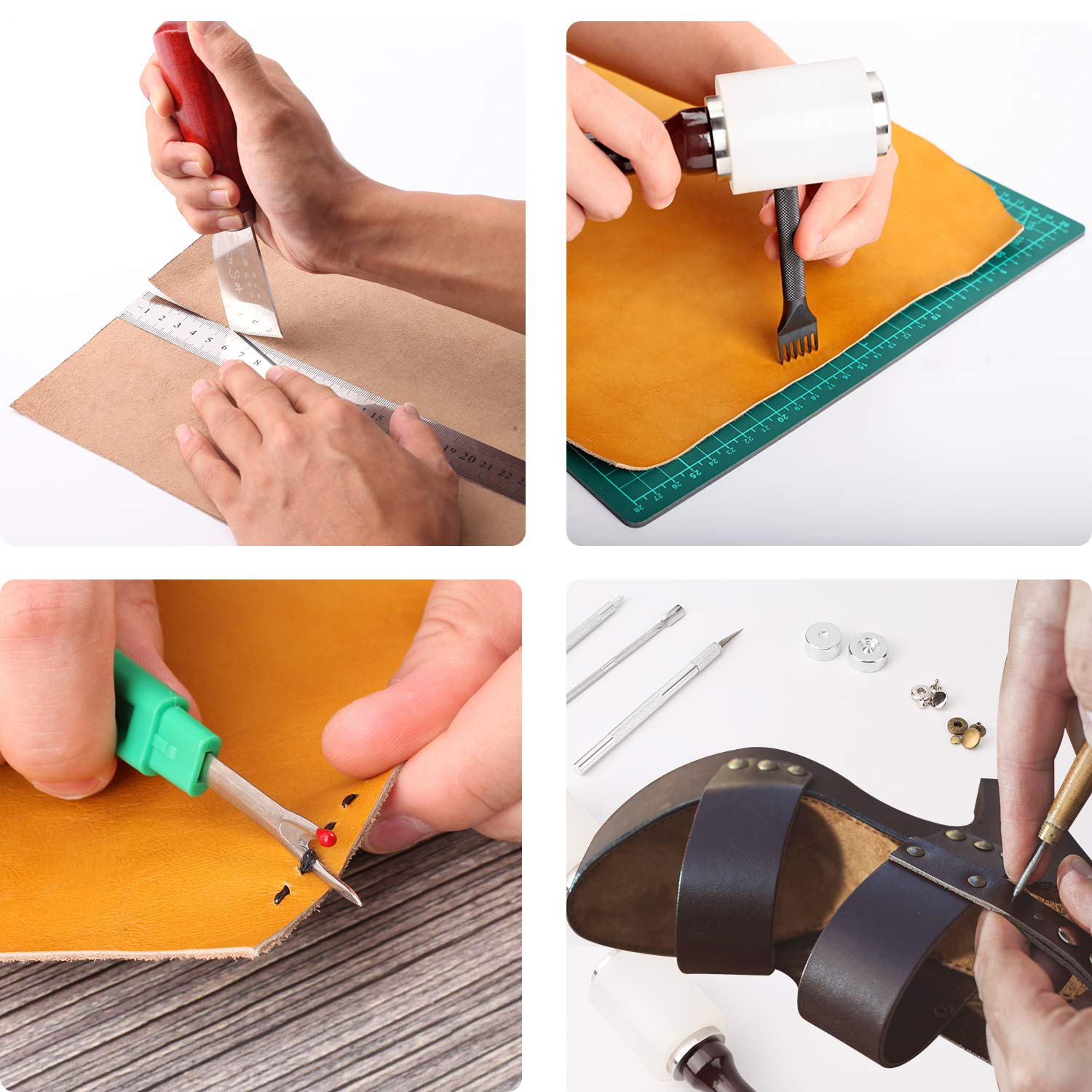 Dorhui 372 Pieces Leather Crafting Tools,Leather Tools Leather Working Tools and Supplies, Leather Craft Stamping Tool, Prong Punch, Hole Hollow Punch, Matting Cut for DIY Leather Artworks by Dorhui (Image #8)