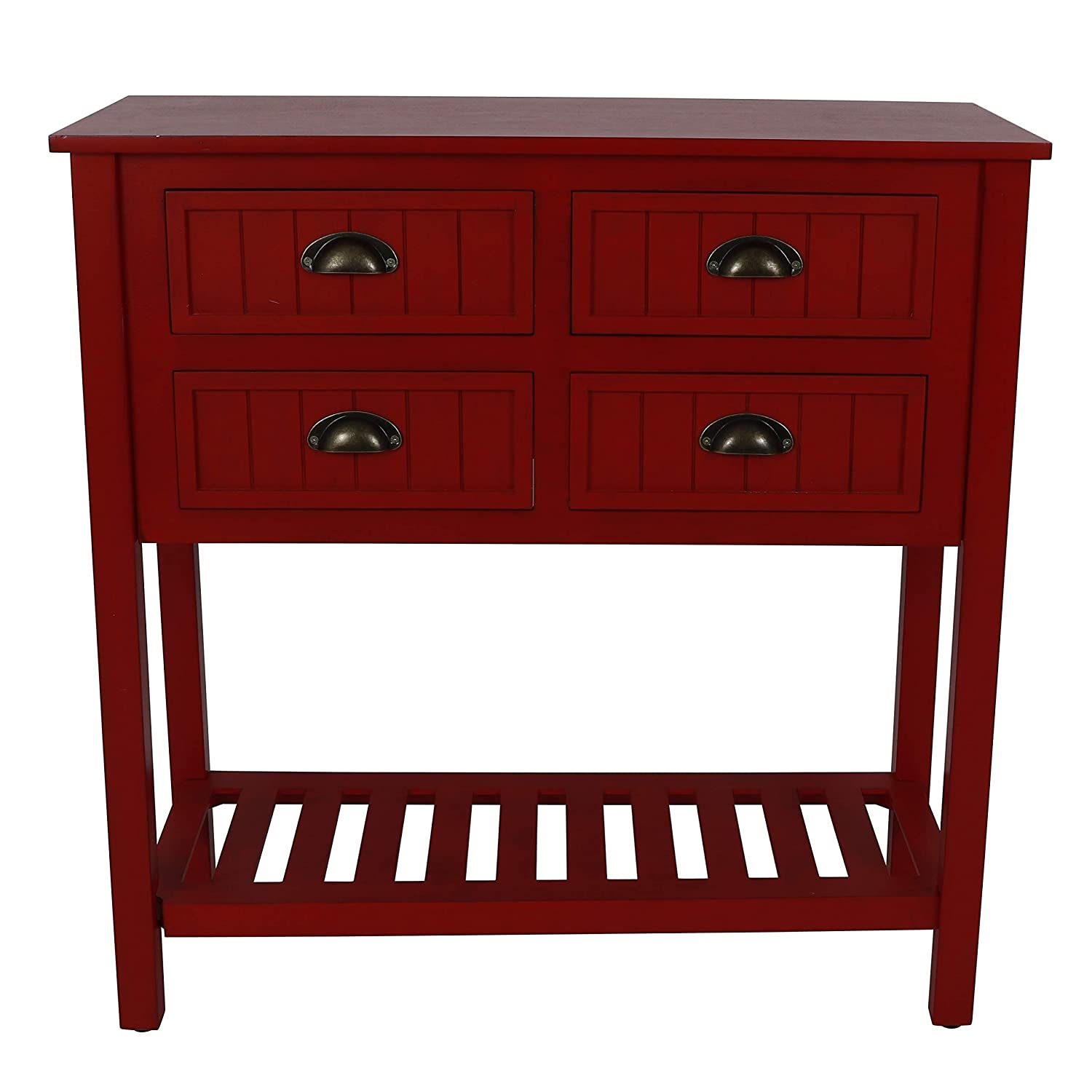 Amazon.com: Bailey Bead 4 Drawer Wood Console Table   Antique Red: Kitchen  U0026 Dining