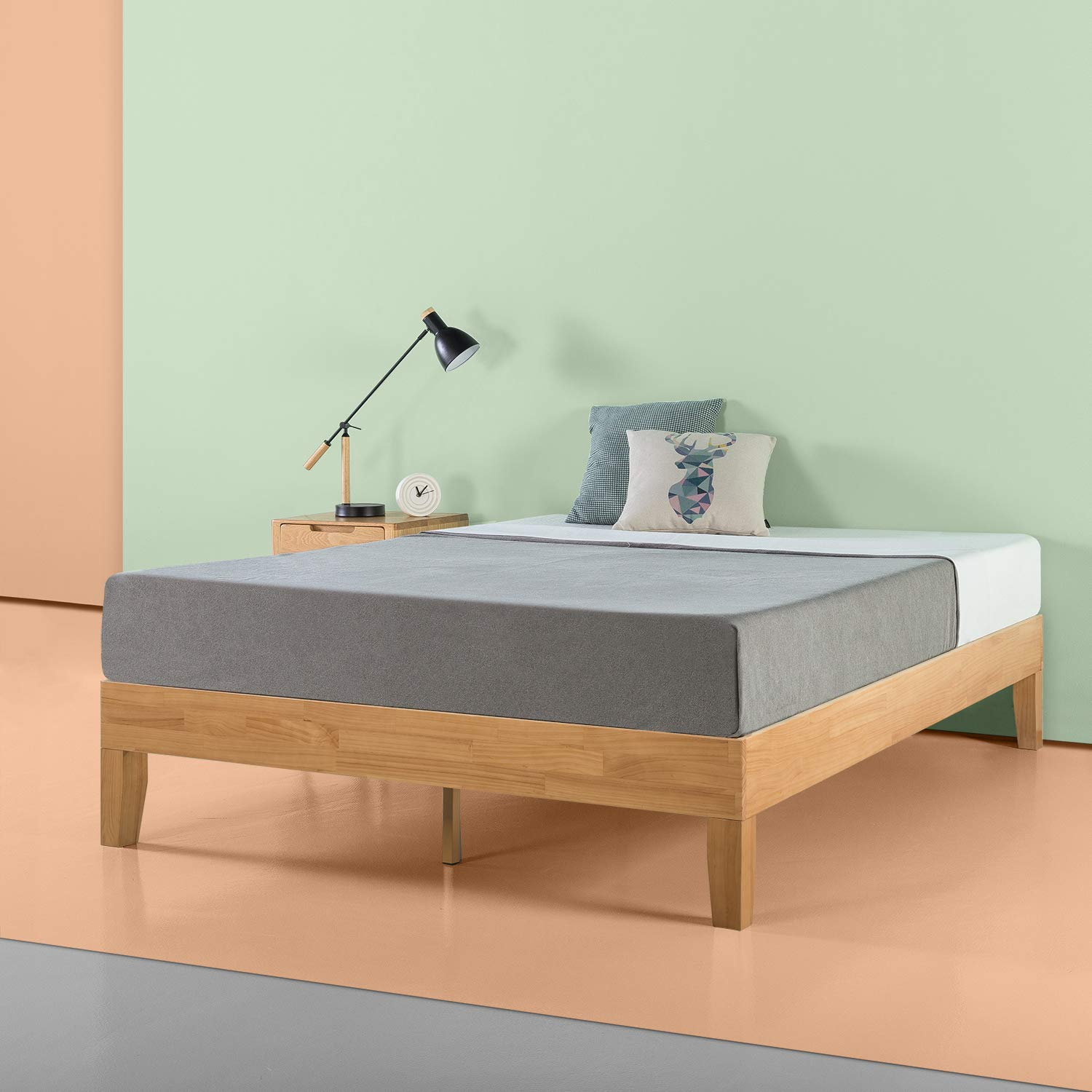 Zinus Moiz 14 Inch Deluxe Solid Wood Platform Bed Frame with Wood Slat Support / No Box Spring Needed, Queen