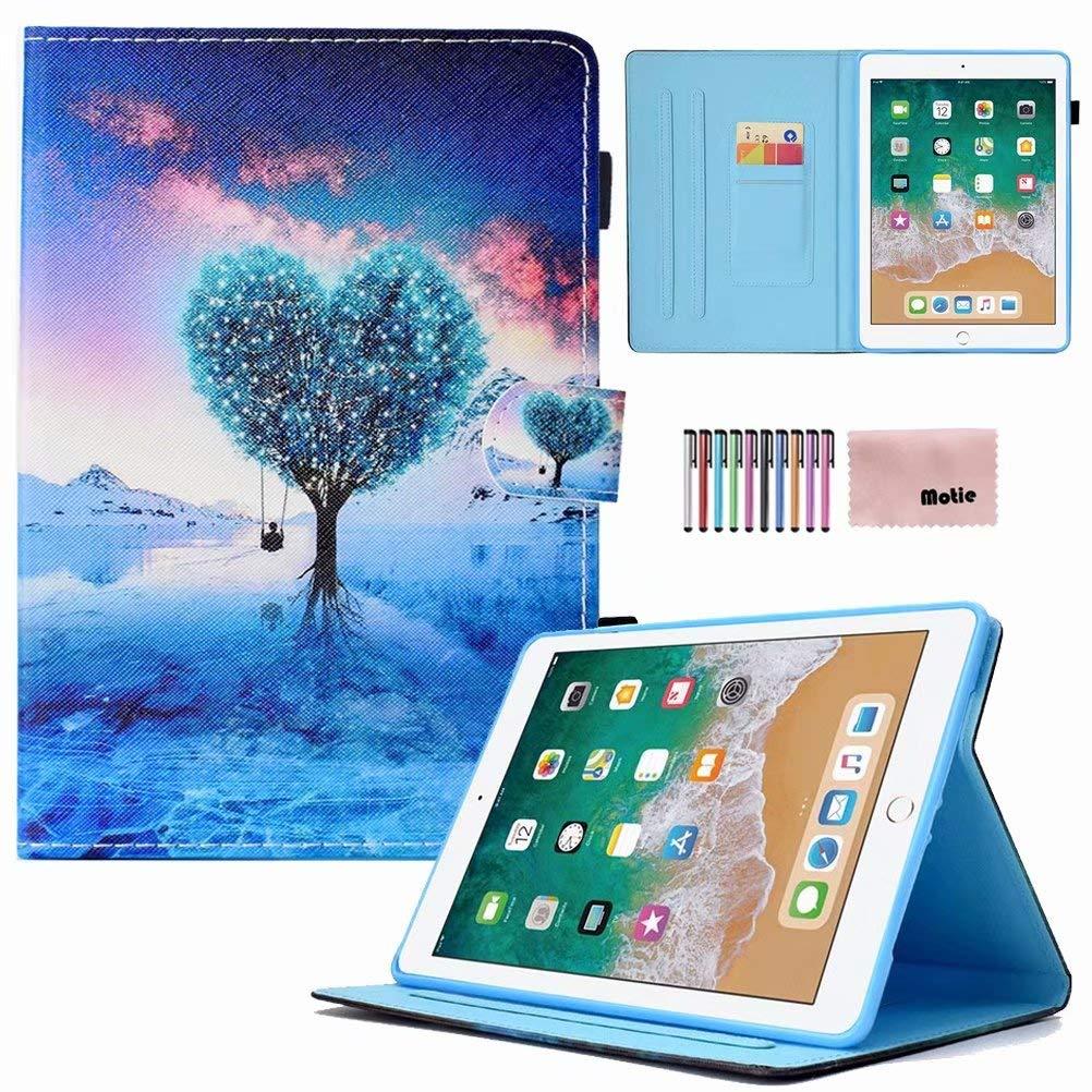 iPad 9.7 2017 iPad 9.7 2018年 iPad Air 2 iPad Air 1 ユニバーサルケース Motie Slim PUレザースタンドケース スマートオートスリープ/ウェイク&スタイラス付き Apple iPad 第5世代 第6世代 iPad Air 1 2用 MT-2018  01 Love Tree B07LDSQQC9