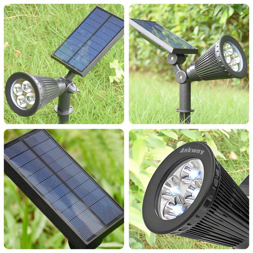 wei/ß Ankway Solarspots Unterwasserstrahler LED Teichbeleuchtung Solar mit drei Spots wasserdicht IP68 Solar Spotlight Licht Sensor f/ür Pool or Garten