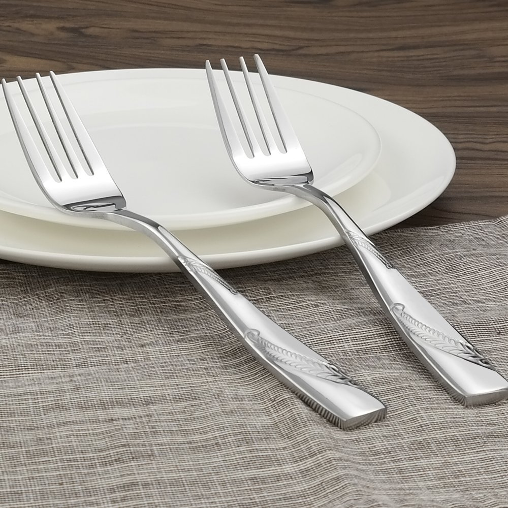 9.45-INCH Nicesh 6-Piece Stainless Steel Large Buffet Serving Fork Large Forks