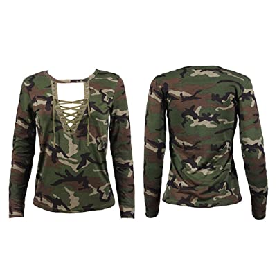 Ikevan 2020 Hot Selling Fashion Women Long Sleeve Shirt Slim Casual Blouse Camouflage Print V-Neck Tops Spring Autumn (XL) : Baby
