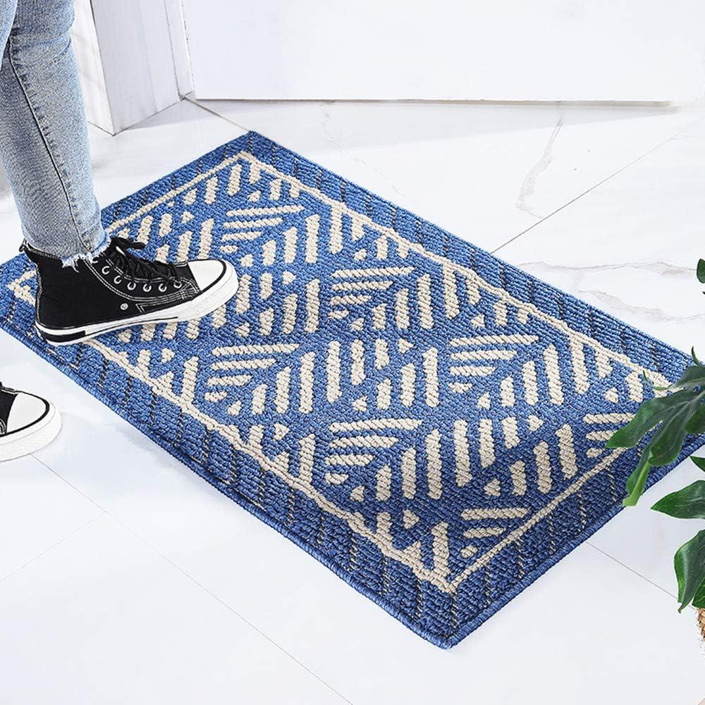 Outdoor Indoor Mat 50x80cm Blue Non Slip Washable Quickly Absorb Moisture and Resist Dirt Rugs Waterproof Simple Style Lattice Pattern Indoor Doormat