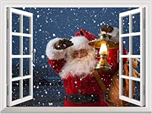 """wall26 Removable Wall Sticker/Wall Mural - Santa Claus Carrying Gifts Outside of Window on Christmas Eve - Creative Window View Home Decor/Wall Decor - 24""""x32"""""""