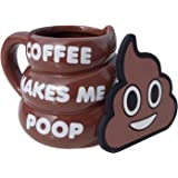 Coffee Makes Me Poop Mug by Mr. Poopy Mug - Funny, Novelty, Brown, Emoji Poop Shaped Coffee Mug Cup - 11OZ with BONUS Coaster
