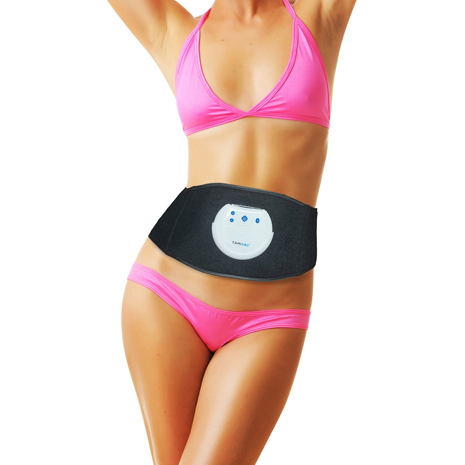 FAMIDOC Waist Trimmer Ab Belt - FDA Cleared FDES107(Newest Gel-Free Permanent Use Silicon Electrodes Technology) Ab Trainer Workout Belt EMS Unit for Weight Loss,Slimming,Tone,Strengthen The Muscles