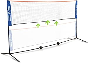 HIT MIT Adjustable Height Portable Badminton Net Set - Competition Multi Sport Indoor or Outdoor Net for Playing Pickleball, Kids Volleyball, Soccer Tennis, Lawn Tennis - Easy and Fast Assembly