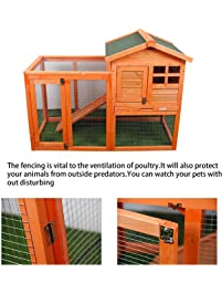 MIERES Wooden Pet House Rabbit Bunny Wood Hutch House Chicken Coops Rabbit Cage (Rabbit Hutch, Brown