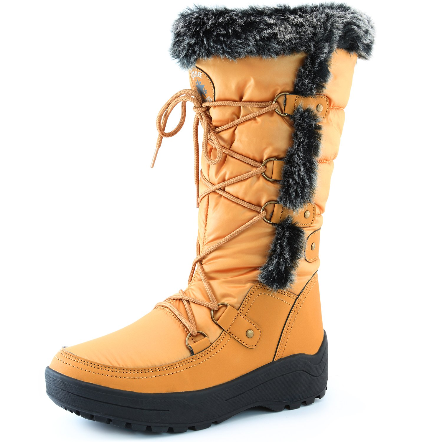 DailyShoes Knee High Faux Fur Lined Snow Boots Bootie Winter Warm Mid Calf Lace Up D Ring Backpacking Classic Heels Insole Eskimo Boot for Women Alaska-01 Mustard 8 by DailyShoes