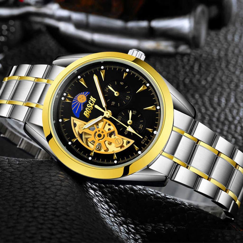 Skelett automatisk mekanisk armbandsur, vattentät lysande sport enkel vardaglig affärsklockor för män - flerfärgad Svart