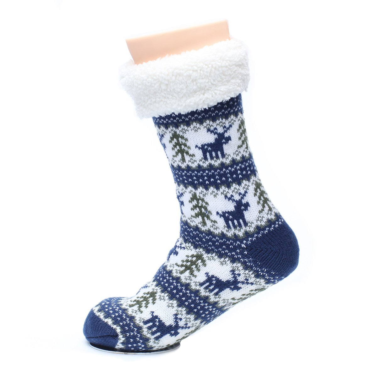 Ofoot Winter Polyester Knitted Deer Pattern Stockings, Style Home Slipper Socks (M/L 6.5-7.5 B(M) US, Blue)