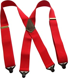 product image for USA made Holdup Brand Extra Long XL Logger RED Suspenders with Patented Gripper Clasps