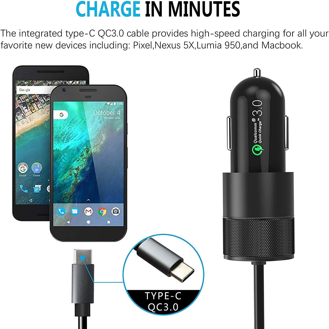 Sngg Type C Car Charger Compatible for Samsung Galaxy S9//S9+//S8//S8 Plus//Note 8,Google Pixel//Pixel XL//2//2 XL//3//3 XL-Quick Charge 3.0 USB Adapter with 5.5ft Coiled USB Type C to A Fast Charging Cable
