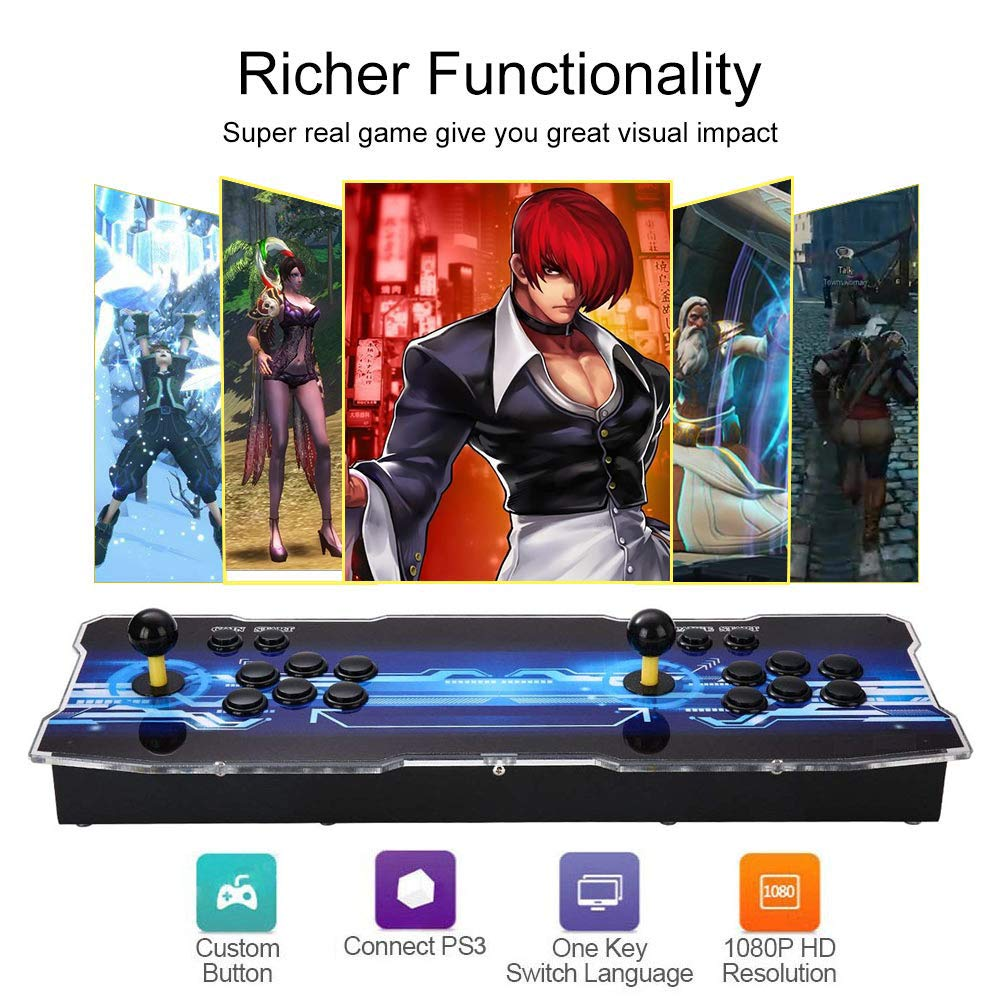 MYMIQEY 3D Pandora Key 7 Arcade Game Console | 2177 Retro HD Games | Full HD (1920x1080) Video | 2 Player Game Controls | Support Multiplayer Online | Add More Games | HDMI/VGA/USB/AUX Audio Output by MYMIQEY (Image #2)