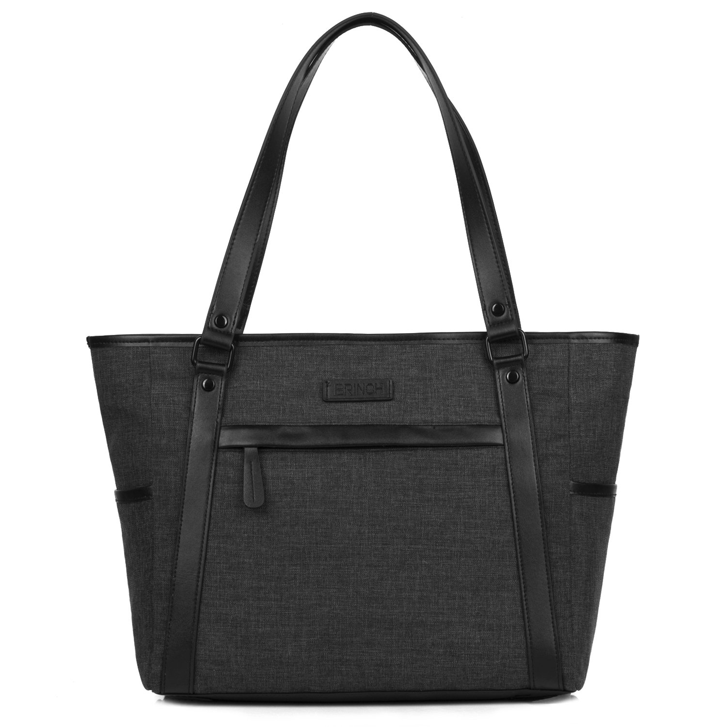 Womens Laptop Tote Bag,BRINCH Classic Nylon Work Tote Bag Shopping Bag Carry Travel Business Briefcase Shoulder Bag Handbag for Up to 15.6 Inch Laptop/Notebook / MacBook/Tablet,Black