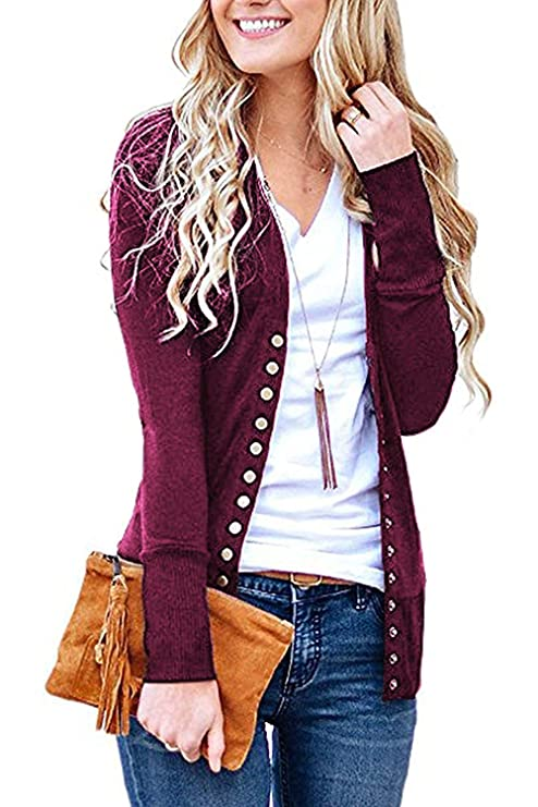 Women's S-3XL Solid Button Front Knitwears Long Sleeve Casual Cardigans Plum L best women's cardigans