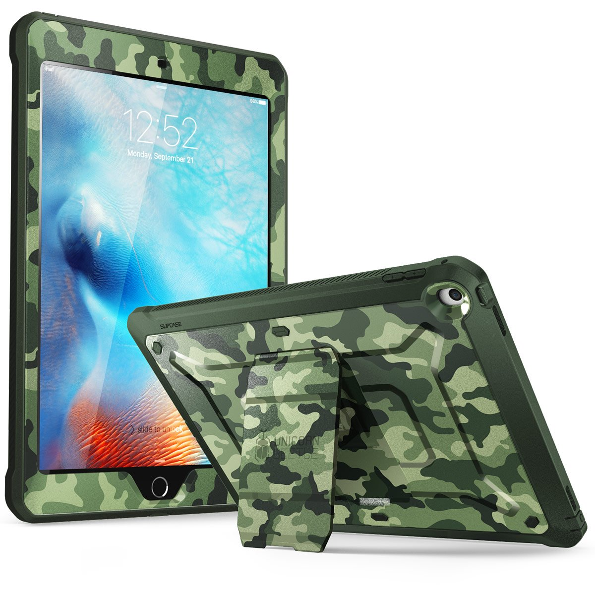 SUPCASE [Unicorn Beetle Pro Series] Case Designed for iPad 9.7 2018/2017, with Built-in Screen Protector & Dual Layer Full Body Rugged Protective Case for iPad 9.7 5th / 6th Generation (Camo) by SUPCASE