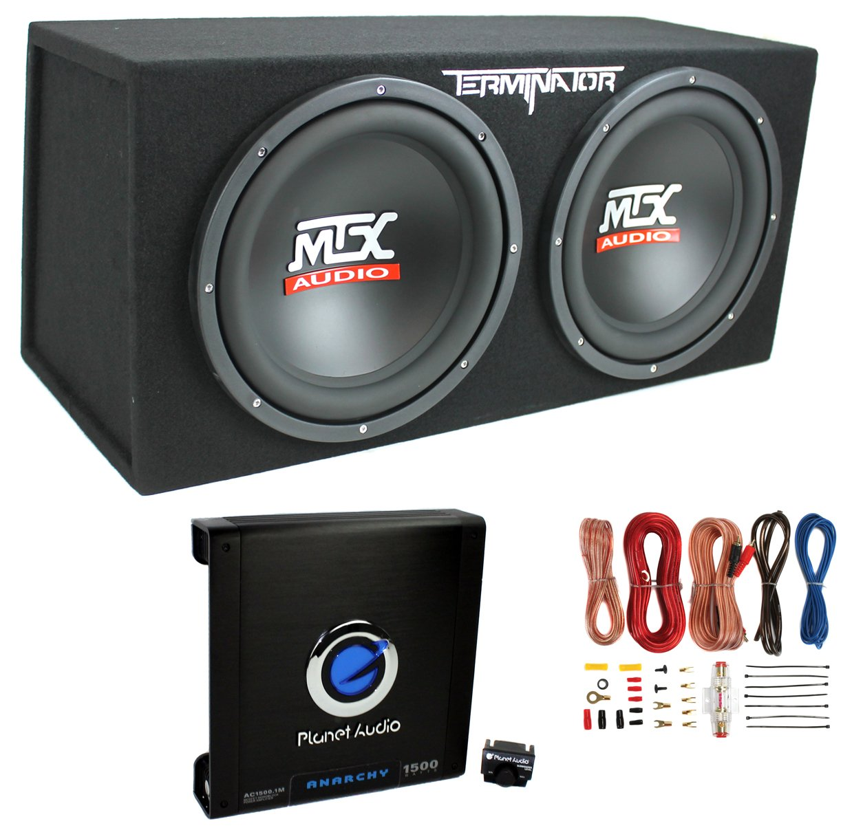 "Amazon.com: MTX TNE212D 12"" 1200W Dual Loaded Car Subwoofers + Box + Planet  1500W Amp + Kit: Car Electronics"