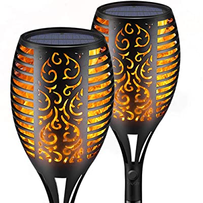 Solar Torch Lights,Waterproof Flickering Flame Torch Lights Outdoor Solar Spotlights Landscape Decoration Lighting Dusk to Dawn Security Path Light for Garden Patio Deck Yard Driveway (2 Pack): Home Improvement