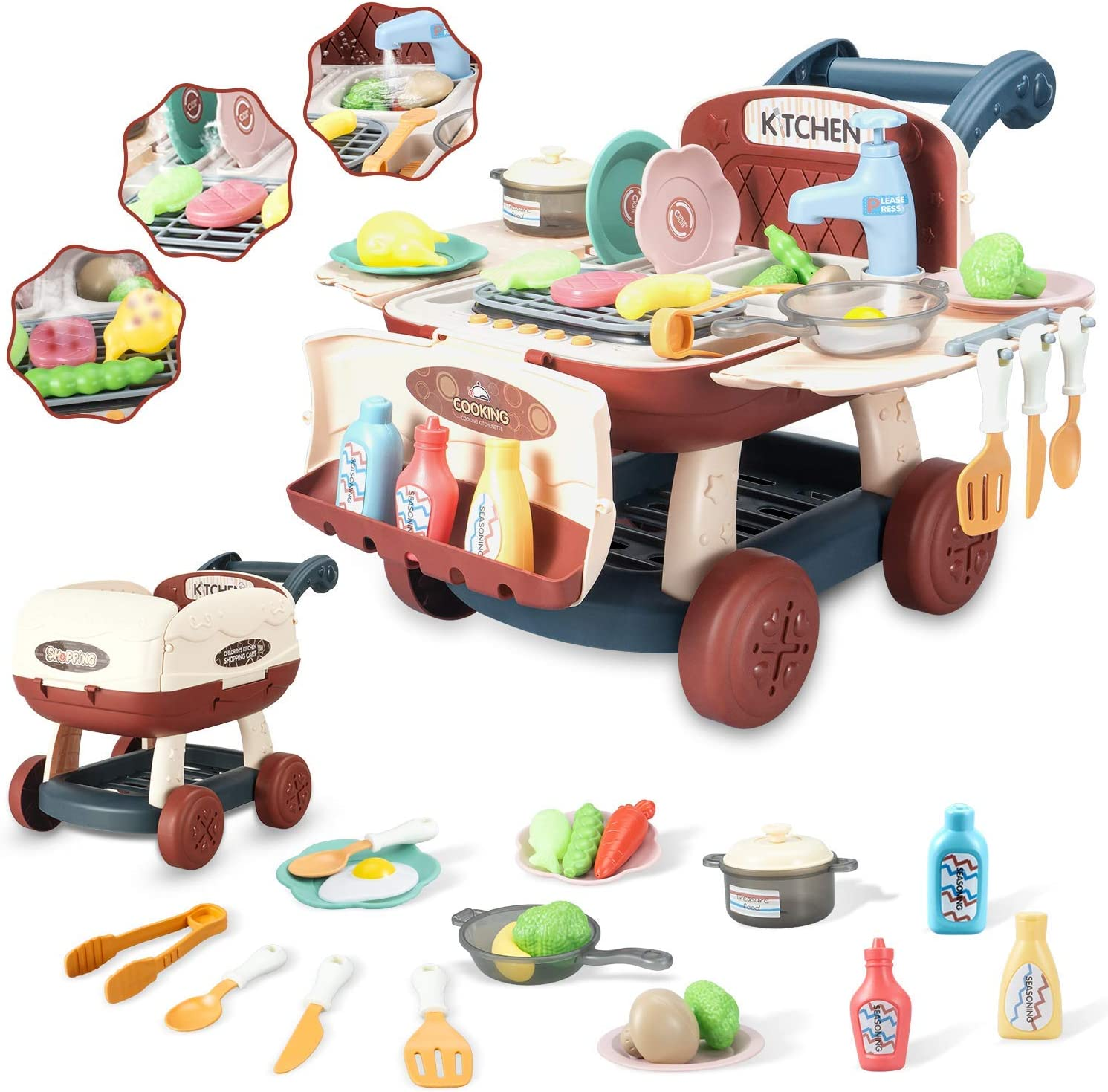 Ainek Kids Kitchen Playset - Can Transform as Shopping Cart - Pretend Cooking with Lights & Music, Toy Oven Cookware Sink, Color Changing Play Food, Gift Toys for 3 4 5 6 Year Old Boys Girls