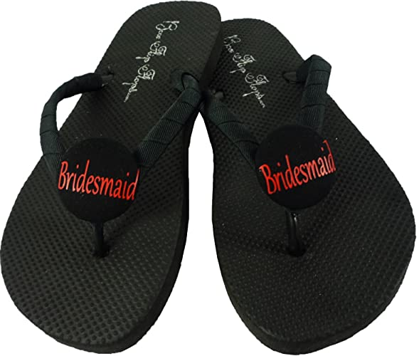 fe9aa437d Amazon.com  Customized Bridal Party Flat Flip Flops in Black or Whit and  your wedding colors  Handmade