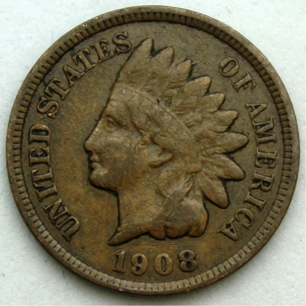 1908 U.S. Indian Head Cent / Penny Coin 4