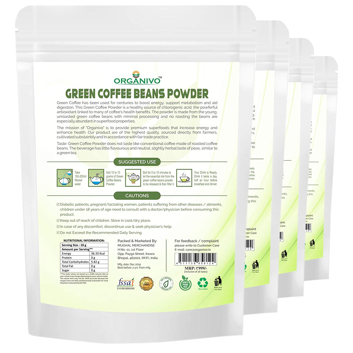 Organivo Pure Natural Arabica Green Coffee Beans Powder For