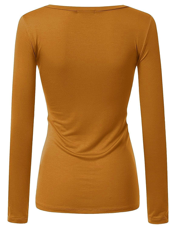 14dfa93e Active Women Basic Solid Plain V-Neck Casual Long Sleeve T Shirt Top, Dark  Mustard, Small at Amazon Women's Clothing store: