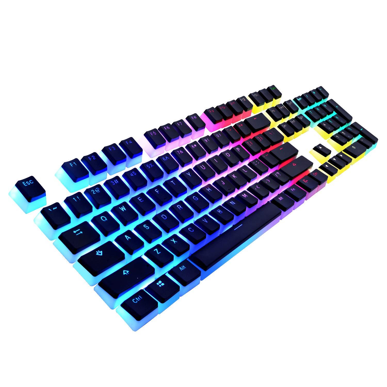 havit Keycaps Double Shot Backlit PBT Pudding Keycap Set with Puller for DIY Cherry MX Mechanical Keyboard, Black White