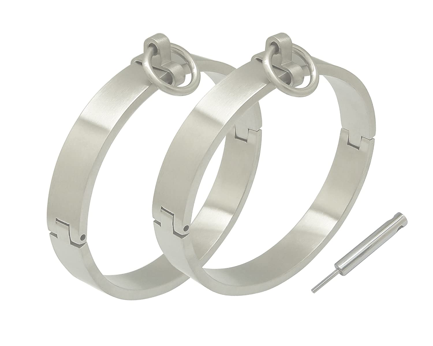 Brushed Stainless Steel Lockable Wrist and Ankle Cuffs with Removable O Ring