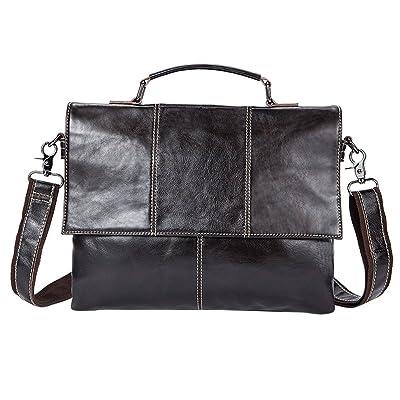 Zhhlinyuan doux Mens Women Unisex Soft Small Zipper Adjustable First Cowhide Leather Crossbody Tablet School Work Shoulder Messenger Bag