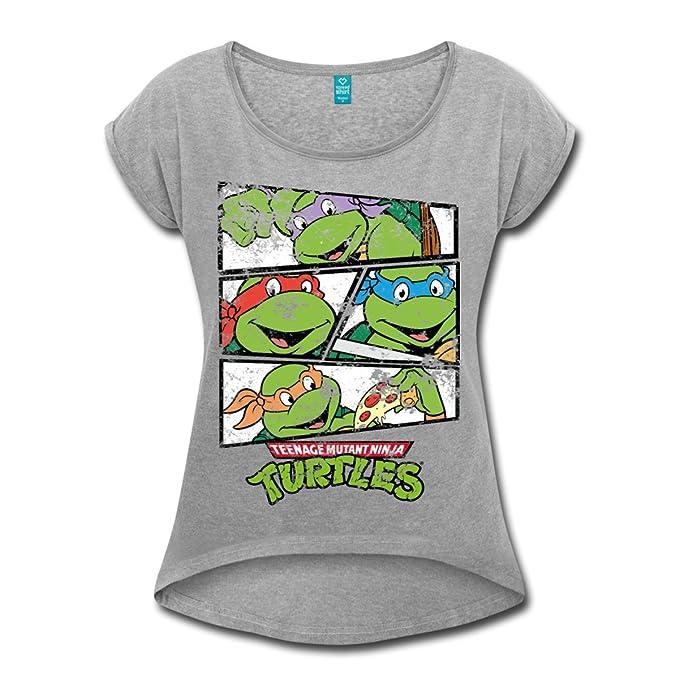 Spreadshirt Tortues Ninja Donatello Raphael Leonardo Michelangelo T-Shirt à  Manches retroussées Femme, S b17ea190243d