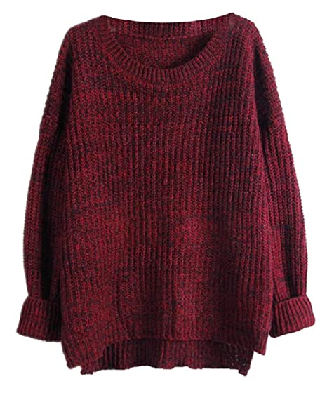 9f2cdb617f CBTLVSN Womens Plain Sweaters Long Sleeve Round Neck Cable Knit Pullover 1  OS