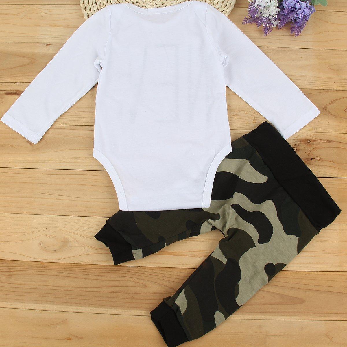 Puseky - Juego de pelele de manga larga y pantalones de camuflaje para niños unisex White+Camouflage Talla:6-12 meses: Amazon.es: Bebé