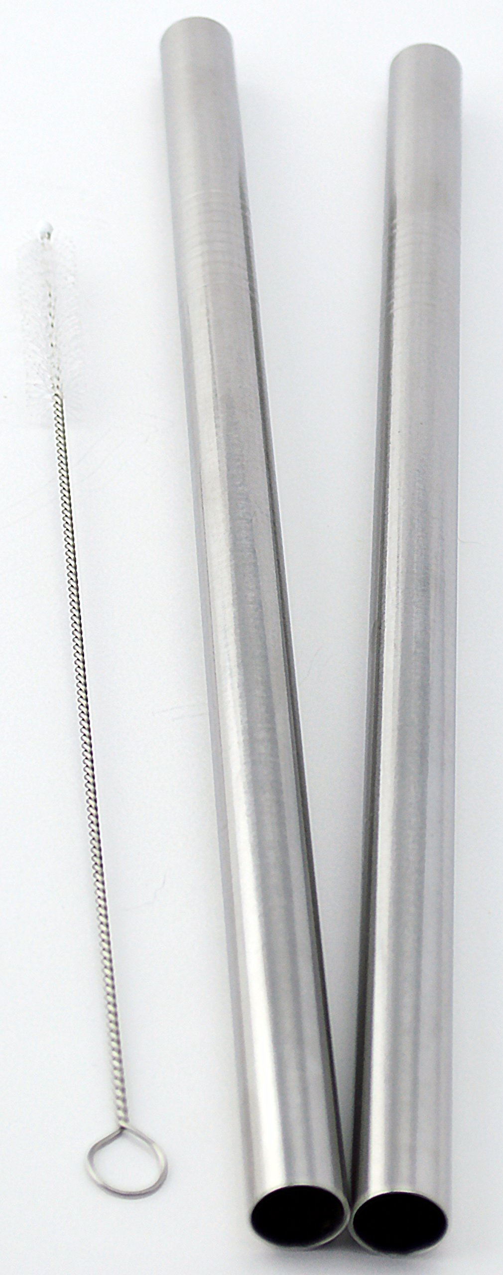 """2 BOBA Straw Stainless Steel Extra Wide 1/2"""" x 9.5"""" Long Tapioca Pearl Bubble Tea Thick FAT - CocoStraw Brand"""
