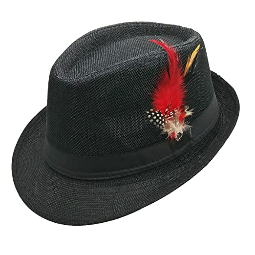 List A Fedora Hat with Band   Feather Trilby Gangster Mob Panama Jazz  Vintage Style ( 55e940ae8869